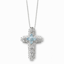 Sterling Silver Mar. CZ Birthstone Message of the Cross 18in Necklace
