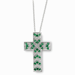 Sterling Silver May CZ Birthstone Message of the Cross 18in Necklace