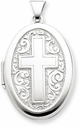 Sterling Silver Oval Cross Locket