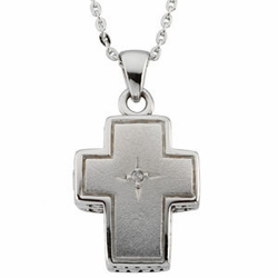 Sterling Silver Prayer Locket w/Diamond Set & Sterling Silver Chain