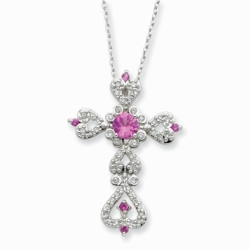 Sterling Silver Synthetic Pink Sapphire & Clear CZ Perfect Love 18in Necklace