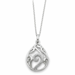 Sterling Silver White Agate & CZ Dew of Heaven Necklace