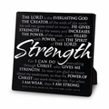 Strength Black Metal Plaque - Christian Home Decor