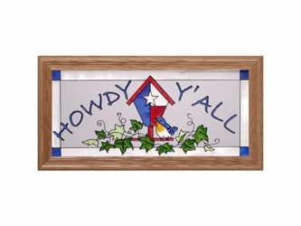 "Texas Birdhouse ""Howdy"" Stained Glass Art"