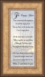 The Empty Chair Poem Framed Sympathy Gift - 4 Frames Available