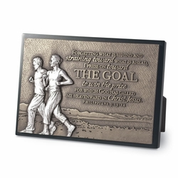 The Goal - Couple Running Sculpture Plaque