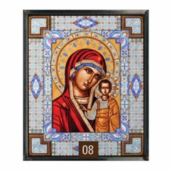 The Kazanshaya Icon - Red - Stained Glass Artwork