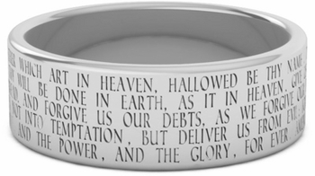 The Lord's Prayer Bible Verse Wedding Ring - 14k White Gold