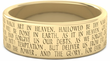 The Lord's Prayer Bible Verse Wedding Band - 14k Yellow Gold