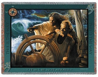 The Storm Pilot Religious Tapestry Throw