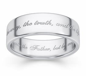 The Way, The Truth And The Life Bible Verse Wedding Band - 14k White Gold
