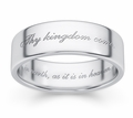 Thy Kingdom Come Bible Verse Wedding Ring - White Gold