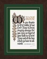 To Our Pastor Christian Calligraphy