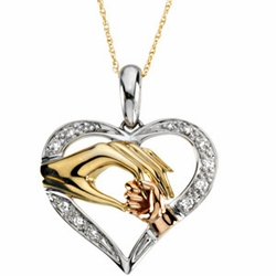 Tri-Color Tender Touch Pendant with Chain Jewelry for Mom