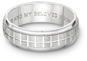 Tuscan Bible Verse Cross Wedding Band Ring - 14k White Gold