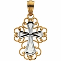 Two Tone 14K Cross Pendant