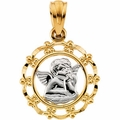 Two Tone Cherub in Frame Pendant