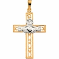 Two Tone Claddagh Cross Pendant