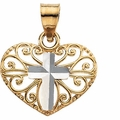 Two Tone Cross Heart Pendant