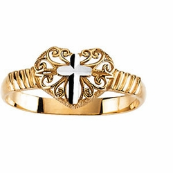 Two Tone Cross Ring 14k Gold