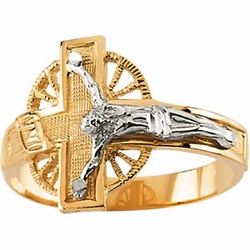 Two Tone Men's Crucifix Ring 14k Gold