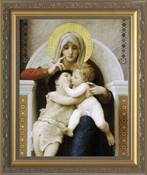Virgin with Jesus and John the Baptist (Embrace) by William Adolphe Bouguereau - 3 Framed Options