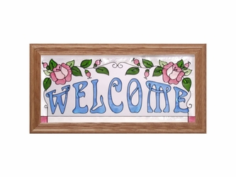 """Welcome"" Blue, & Pink Roses. Stained Glass Panel"