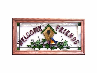 """Welcome Friends"" Birdhouse Stained Glass Panel"