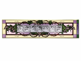 Welcome (Grapes) Horizontal Stained Glass Art