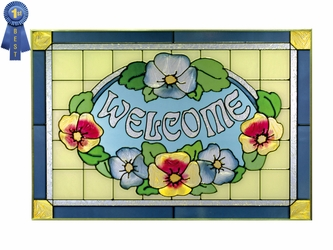 """""""Welcome"""" Pansies, French Blue, Stained Glass Art"""