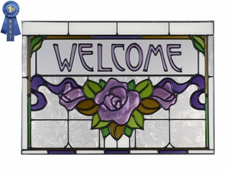 """Welcome"" Plum Rose/Ribbon Stained Glass Panel"