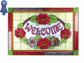 """""""Welcome"""" Red Flowers Stained Glass Art"""