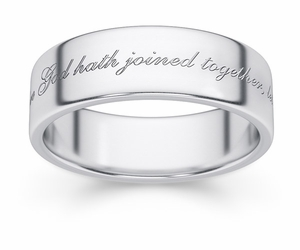 What God Hath Joined Together Bible Verse Wedding Band - White Gold