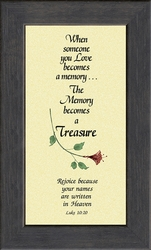 Memory Is A Treasure Poem - Framed Bereavement Gift