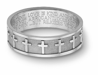 Women's 14K White Gold Christian Cross Bible Verse Wedding Ring