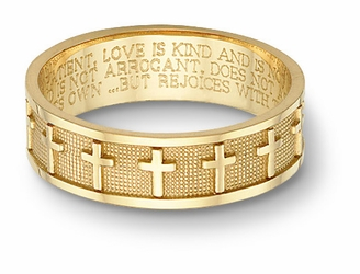 Women's 14k Yellow Gold Christian Cross Bible Verse Wedding Ring