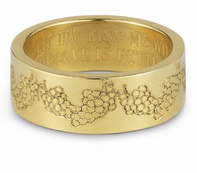 Your Love Is Better Than Wine Bible Verse Wedding Band - 14k Yellow Gold