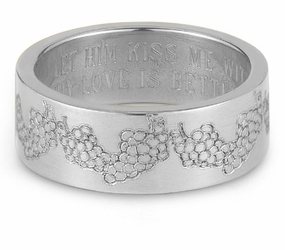 Your Love Is Better Than Wine Bible Verse Wedding Band - Sterling Silver