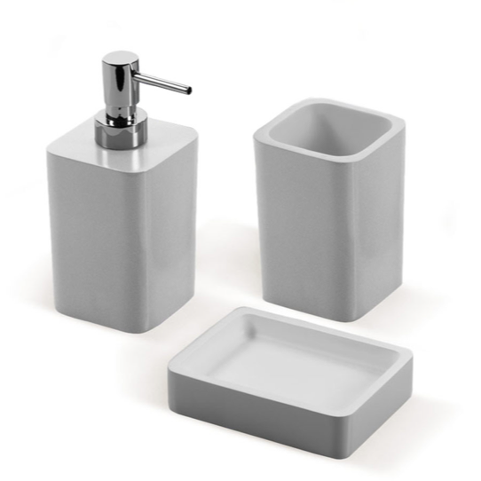 District17 arianna 3 piece bathroom accessory set in gray for Grey bathroom accessories set