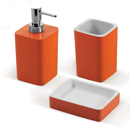 Orange Bathroom Accessories Set District17 Rainbow 5 Bathroom Accessory Set In Orange Bathroom
