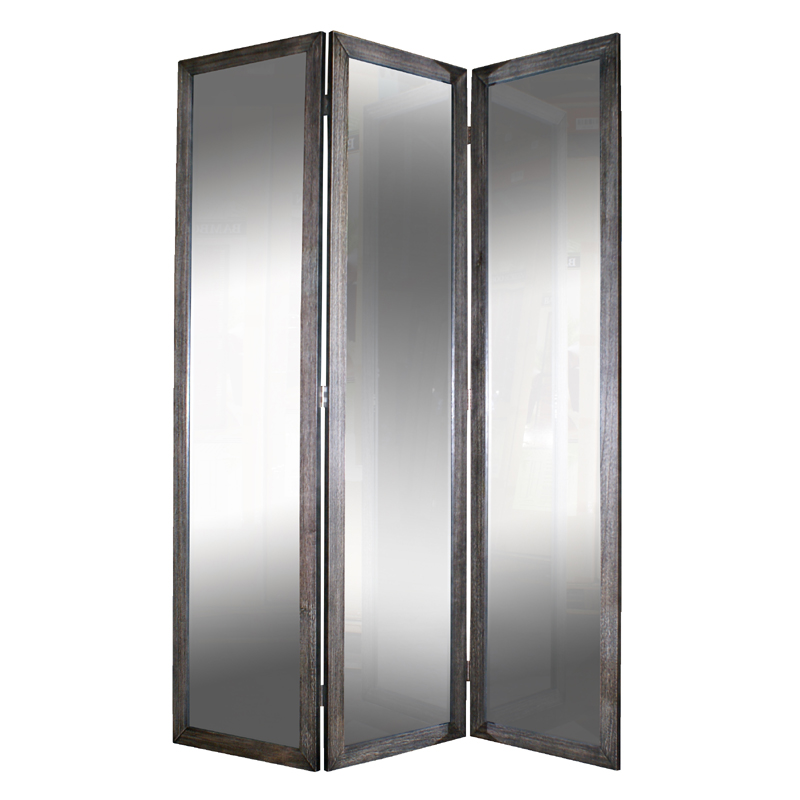 District17 black 3 panel mirror screen room dividers - Mirror screen ...