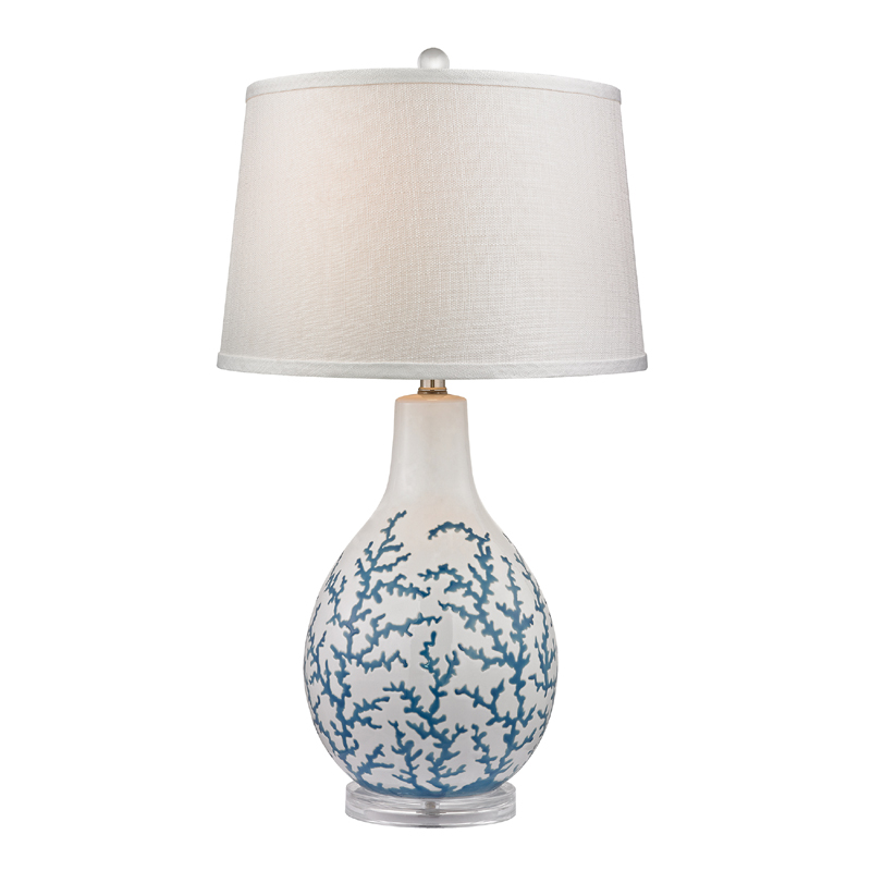 district17 blue coral ceramic table lamp with acrylic