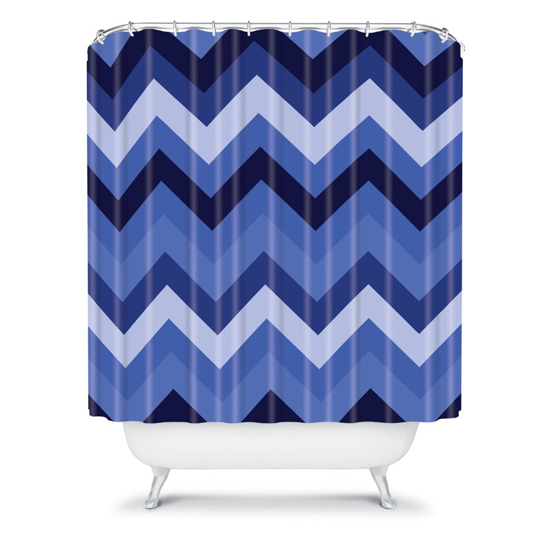 District17 Chevron Blue Shower Curtain Shower Curtains