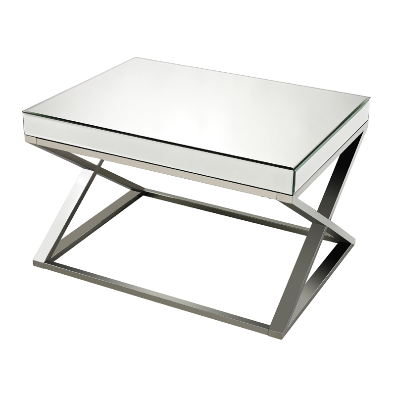 District17 Criss Cross Mirror And Stainless Steel Coffee Table Tables