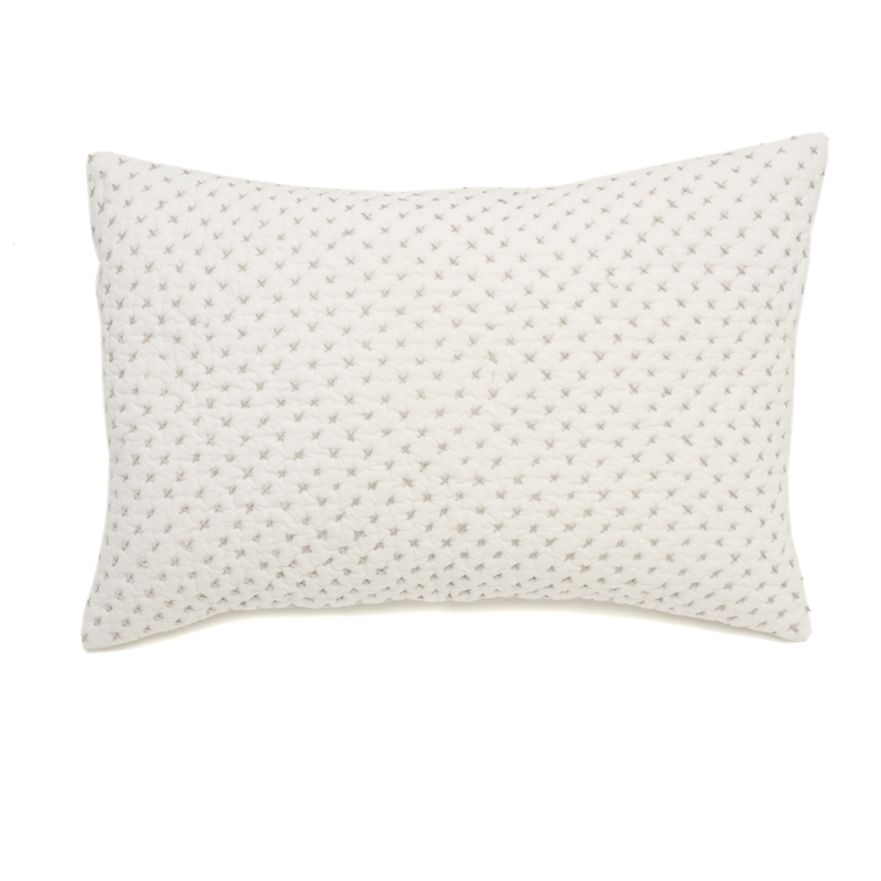 Decorative Quilted Pillow Covers : District17: Cross Stitch Quilted Decorative Pillow Cover in Grey: Pillow Shams