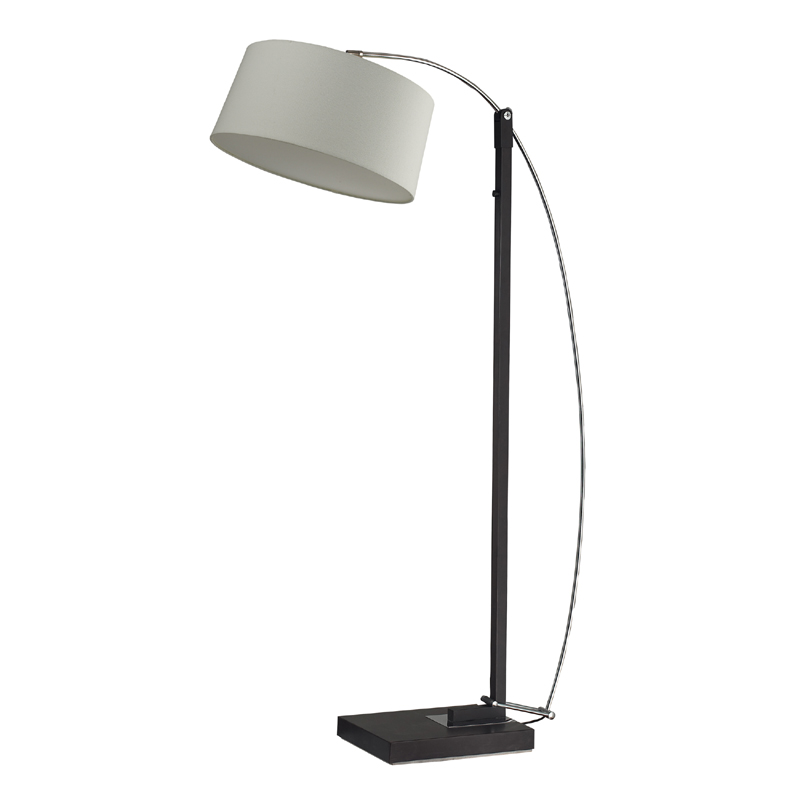 District17 dark brown arc floor lamp with off white shade floor lamps - Arc floor lamp shade ...