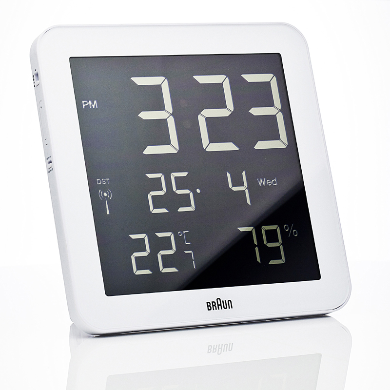 District17 Digital Square Wall Clock In White Clocks
