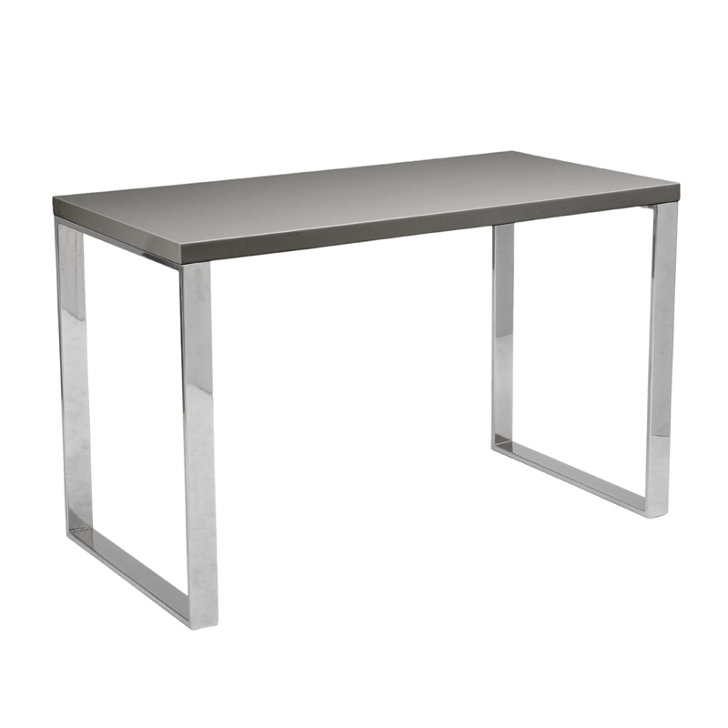 Dillon Desk In Gray Lacquer And Stainless Steel