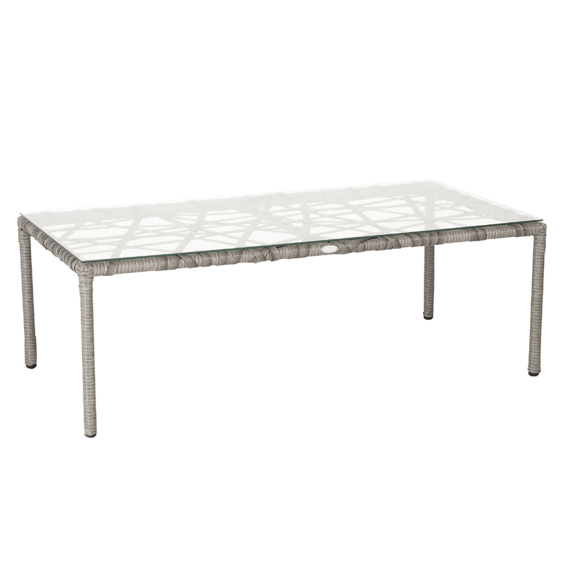 District17 Gazelle Glass Coffee Table In Clear And Taupe