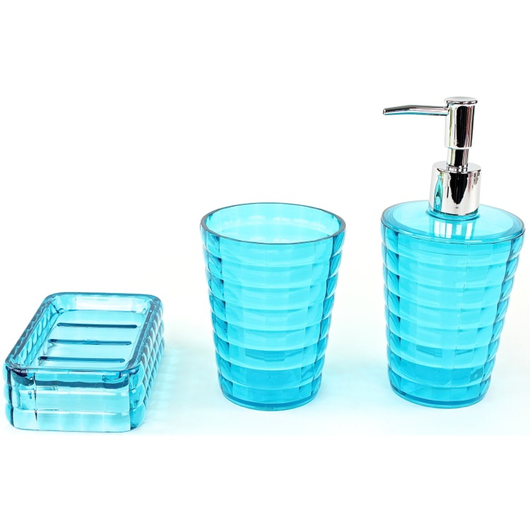 District17 glady 3 piece bathroom accessory set in for Aqua colored bathroom accessories